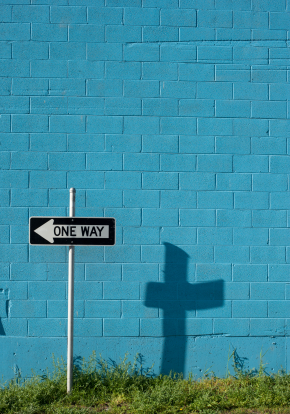 One Way Sign and Cross Shadow - Vertical